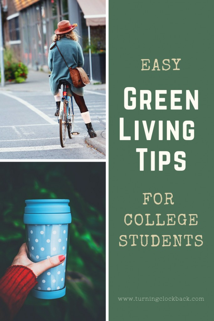 reusable coffee mug and young woman bicycling with text Green Living Tips for College Students