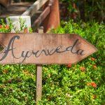 A sign in the garden of Ayurveda in Sri Lanka