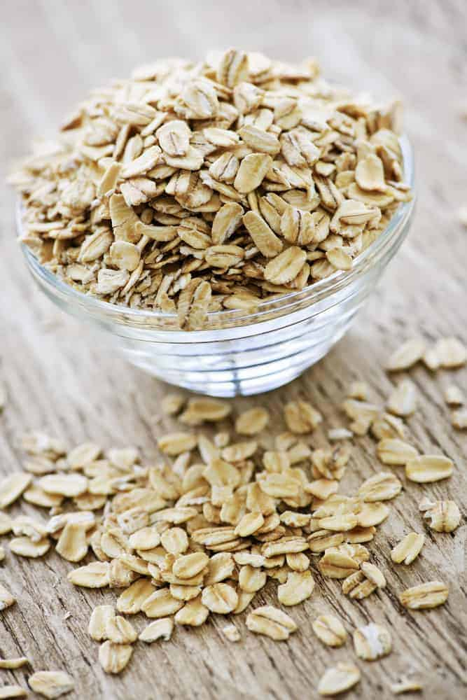 Bowl of raw rolled oats