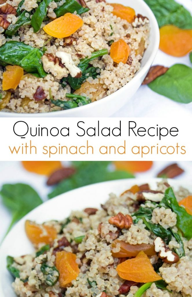 Easy Quinoa Salad Recipe with Fresh Spinach and Dried Apricots