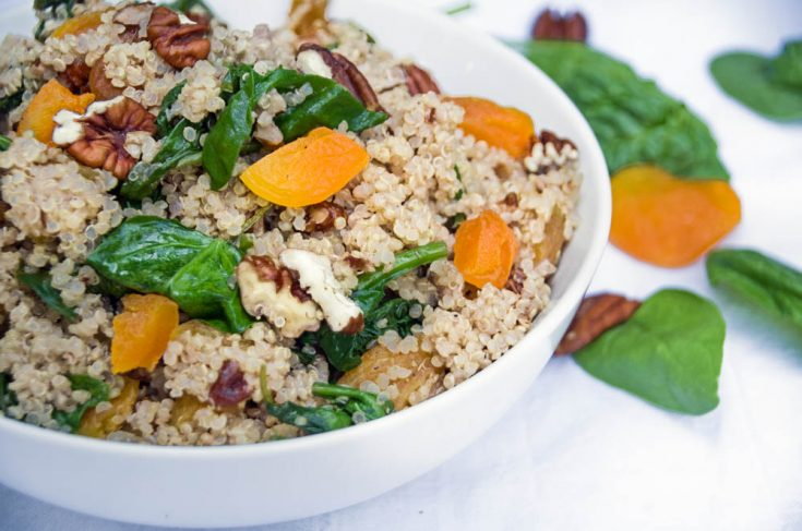 Healthy Quinoa Salad Recipe with Spinach and Apricots