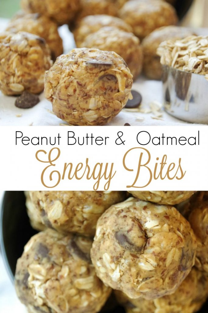 Peanut Butter and Oatmeal Energy Bites Recipe with Chocolate Chips