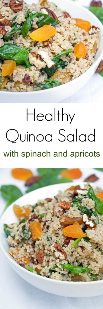 This healthyquinoasaladrecipe is a great vegetarian recipe for Meatless Monday and is ready in less than 30 minutes!
