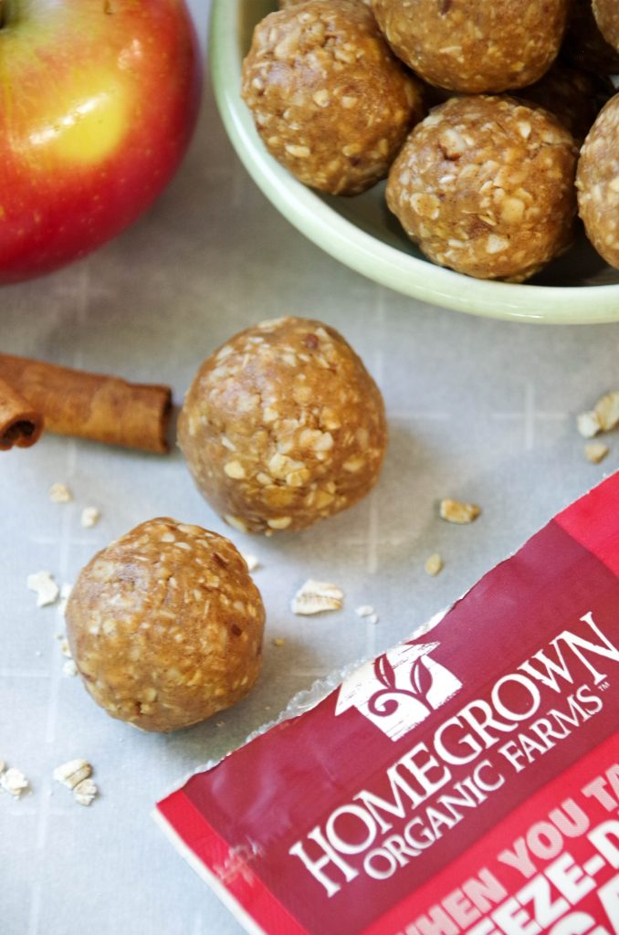 Cinnamon Apple Energy Bites in bowl next to package of dried apples