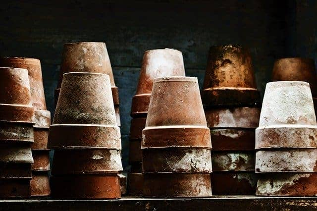dirty terra cotta pots