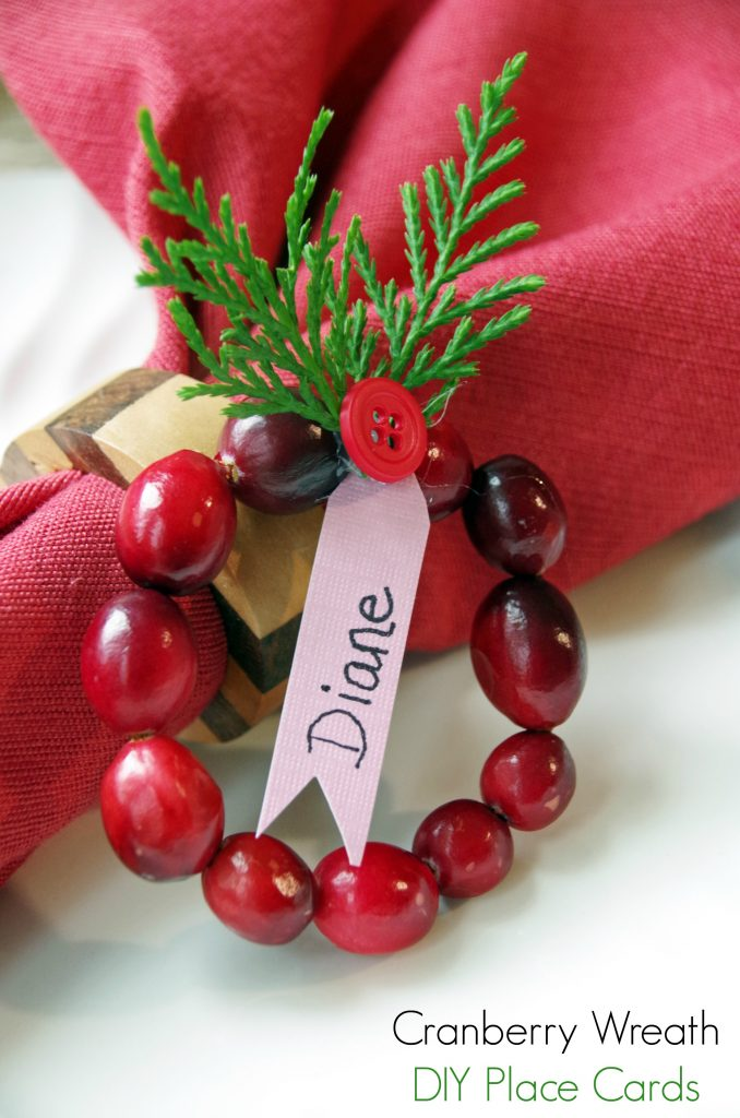 Cranberry Wreath DIY Place Cards