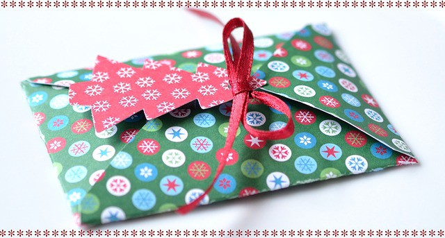 gift card in christmas gift box