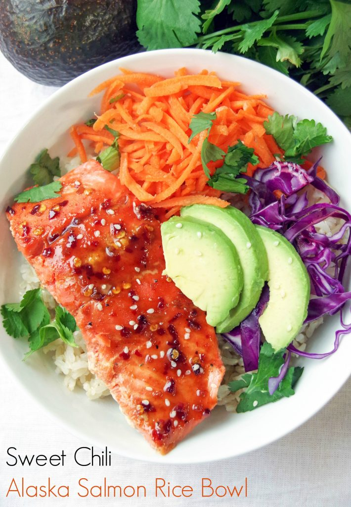 Sweet Chili Alaska Salmon Bowl Recipe with Brown Rice