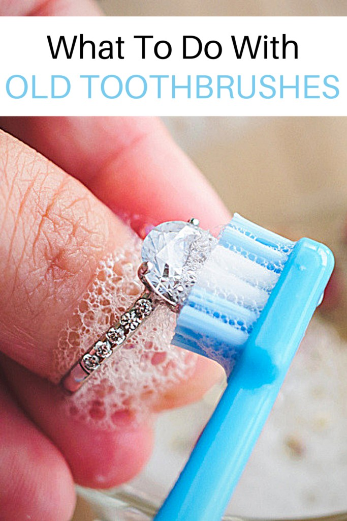 old toothbrush being used to clean a diamond ring