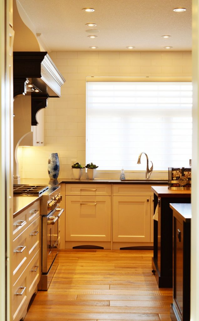 kitchen with bamboo flooring