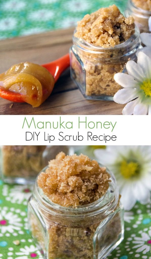 Manuka Honey DIY Lip Scrub Recipe for Smooth Healthy Lips. This Homemade lip scrub is sweet, gently, and soothing for chapped lips. #DIY #sugarscrub #beauty