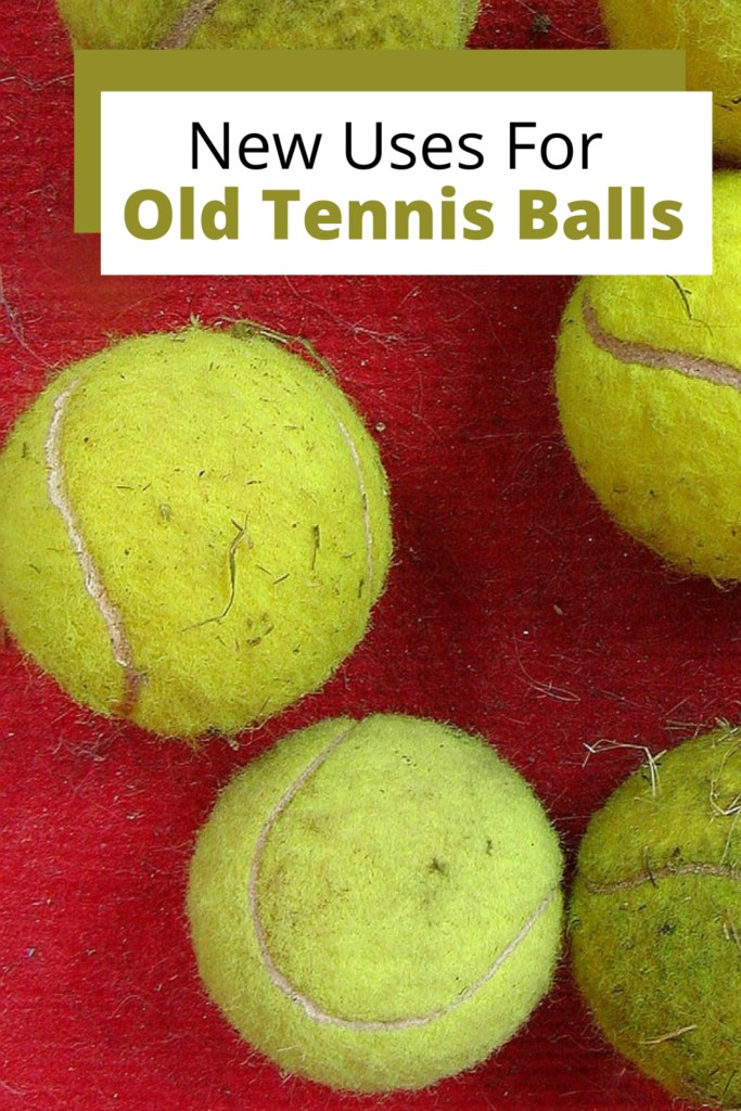 pile of used tennis balls with text overlay 'New Uses For old tennis balls'