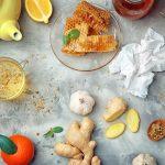 Natural medicine for flu on table