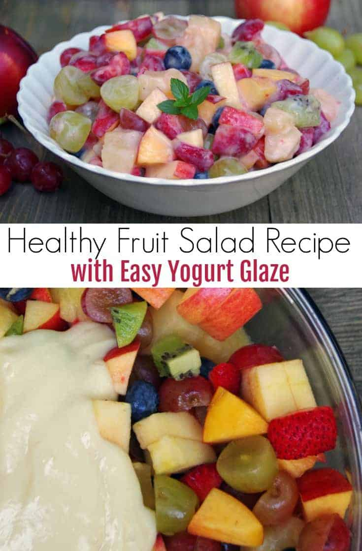 Looking for a healthy fruit salad recipe with a twist?  Add an easy yogurt glaze to your favorite fruit salad for a creamy and delicious flavor!