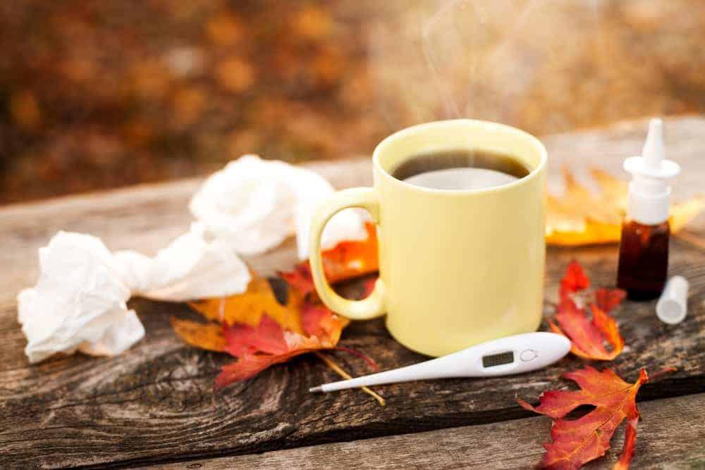 tissues, tea and medicine