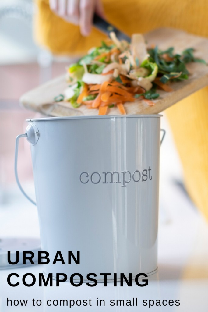 woman composting kitchen scraps in small countertop compost container with text overlay 'Urban composting how to compost in small spaces