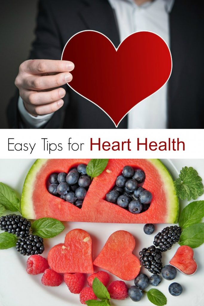 collage of man holding red paper heart and heart shaped fruit with text overlay saying Easy Tips for Heart Health