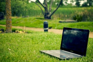 Computer on Grass indicating Tips for Green Living Bloggers