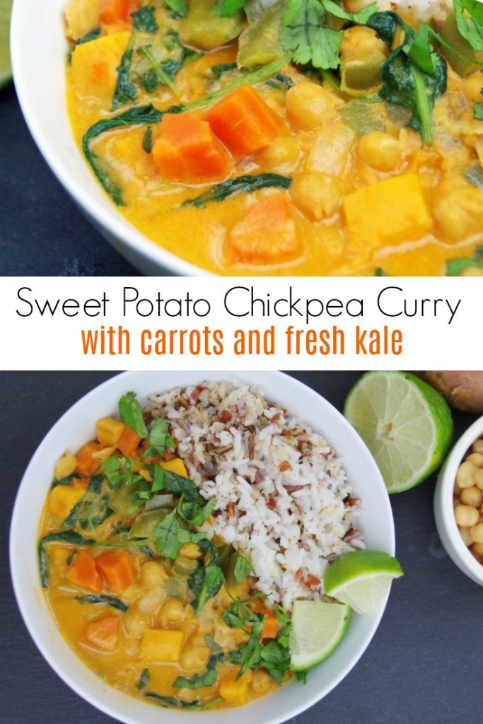 Sweet Potato Chickpea Curry Recipe with Carrots and Fresh Kale