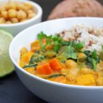 Sweet Potato Curry In a White Bowl