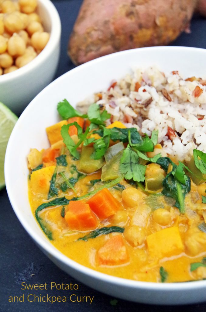 Sweet Potato and Chickpea Curry Over Rice with Lime