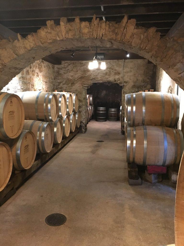 wine barrels in a solar powdered winery