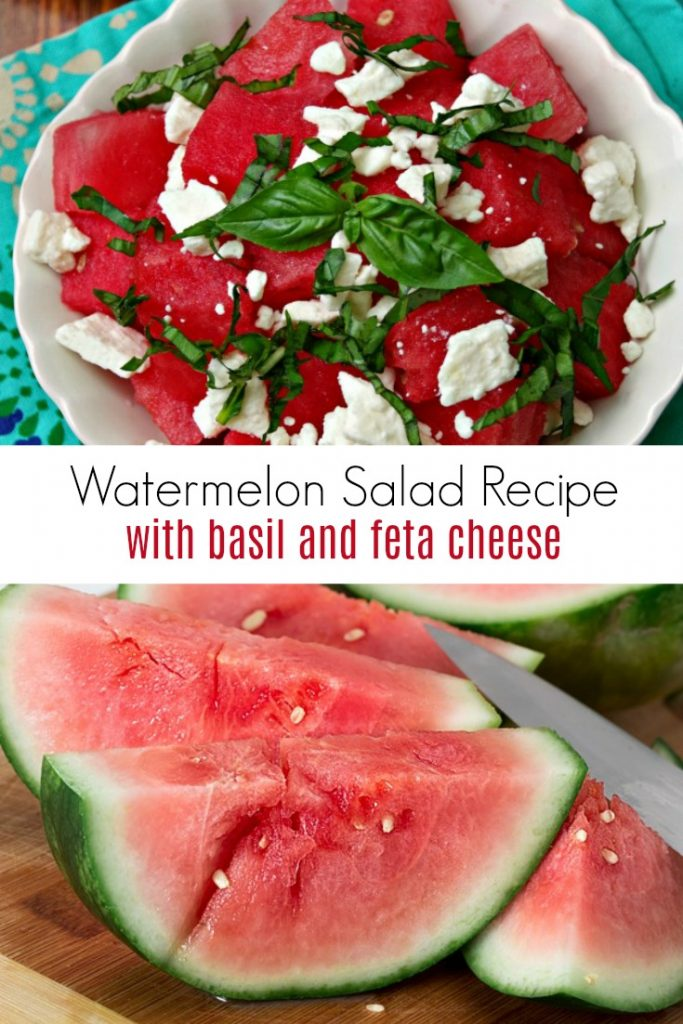watermelon salad in a white bowl with fresh watermelon and knife