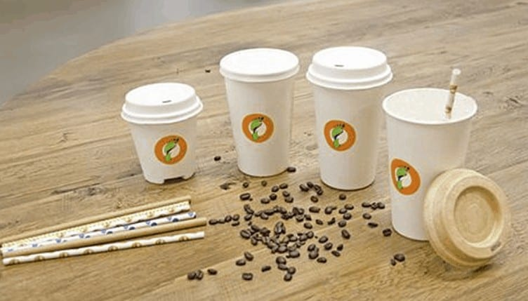 paper straws and compostable coffee cups