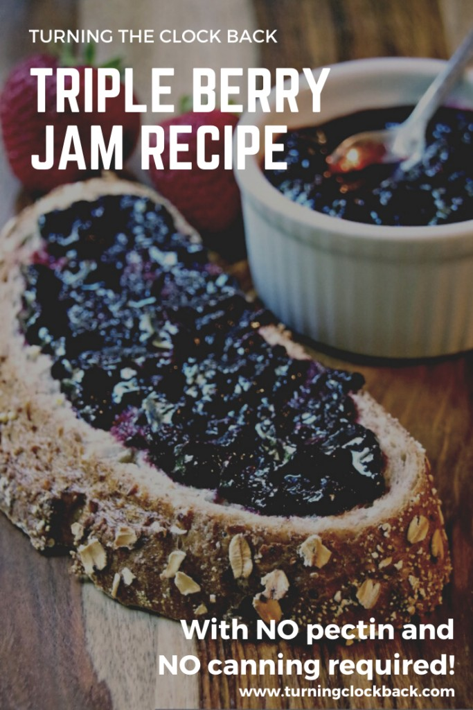 toast with homemade berry jam on it and text overlay Easy Berry Jam Recipe with No Pectin and No Canning