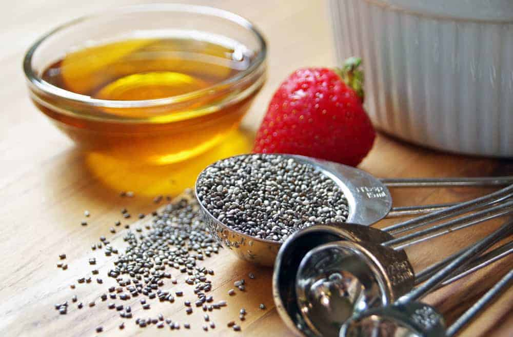 Chia seeds honey and strawberries