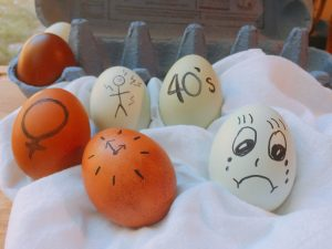 eggs decorated with symbols for chronic pain and menopause