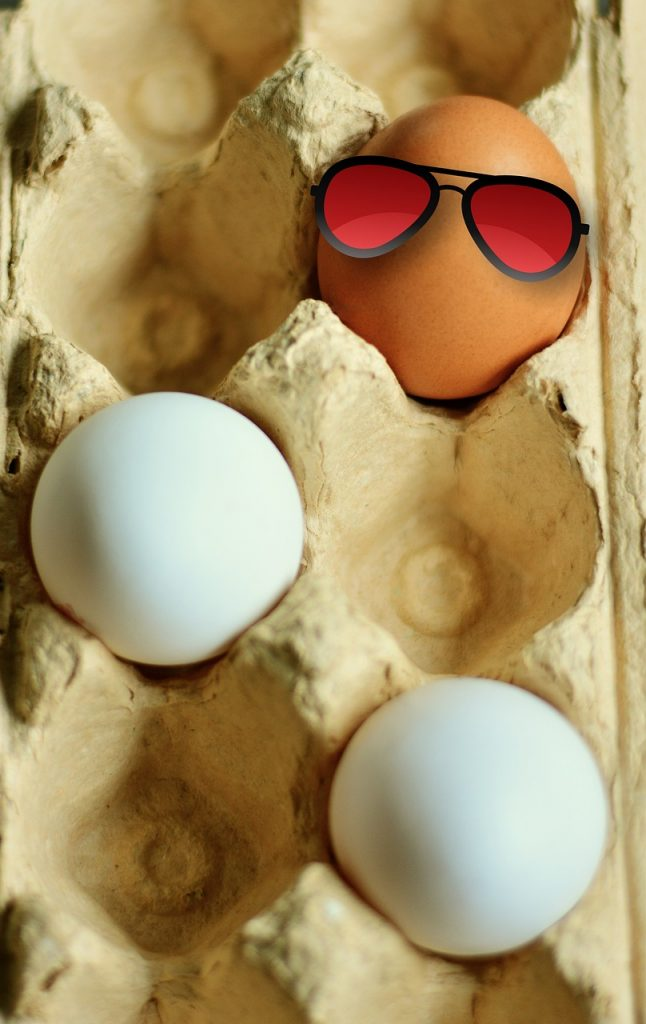 3 eggs in a carton with one wearing sunglasses