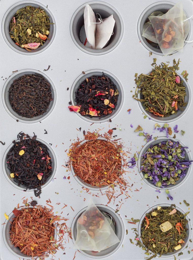 herbal teas in a muffin tin