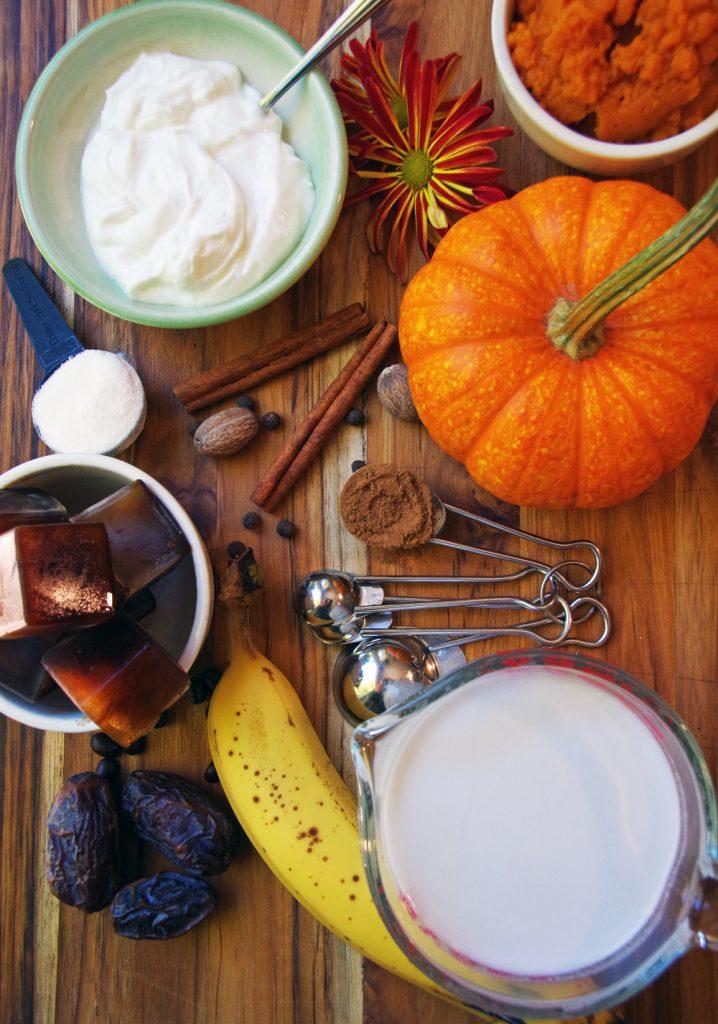 Ingredients in pumpkin spice latte smoothie