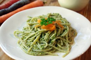 Brown Rice Pasta with Carrot Top Pesto