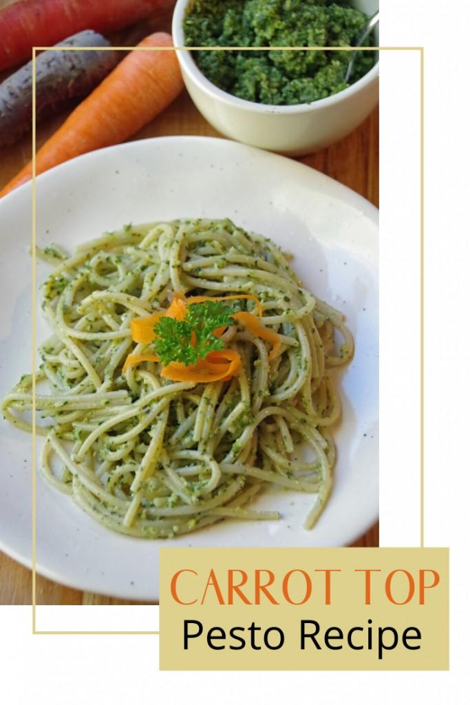 Homemade Carrot Top Pesto Recipe with Brown Rice Pasta