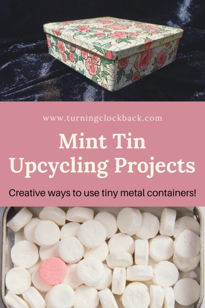 Mints and painted tin collage with text 'Mint Tin Upcycling Projects'