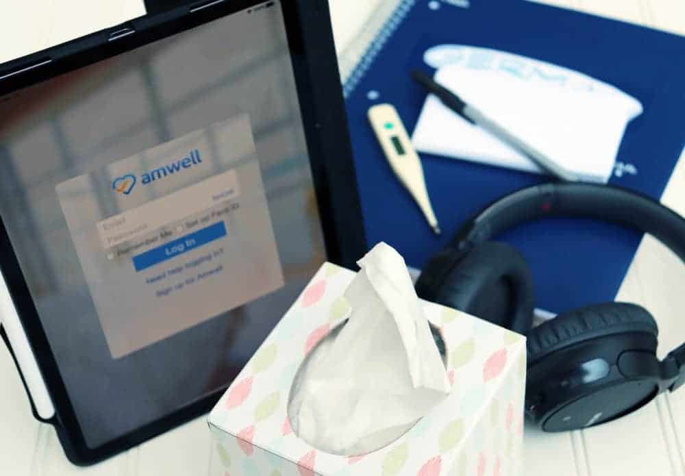 amwell app on ipad and materials for college class