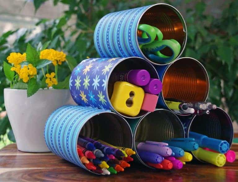 DIY desk organizer made from upcycled tin cans