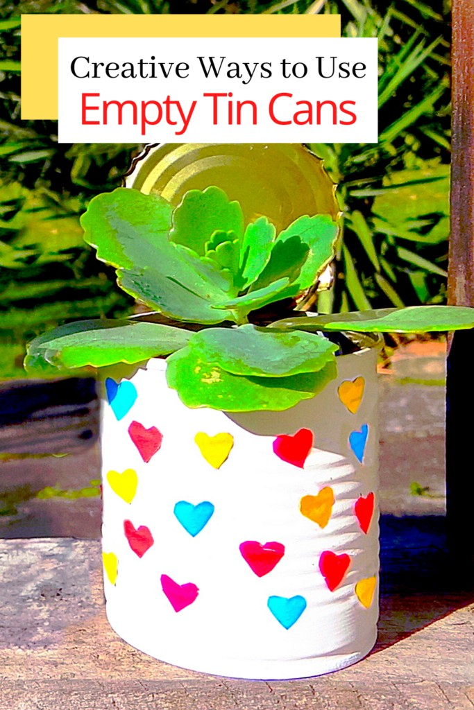 upcycled tin can painted and used as a succulent pot
