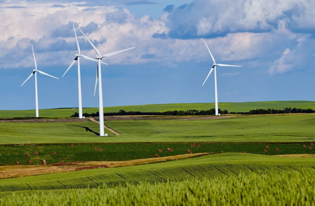 Wind Turbines in Field creating green energy