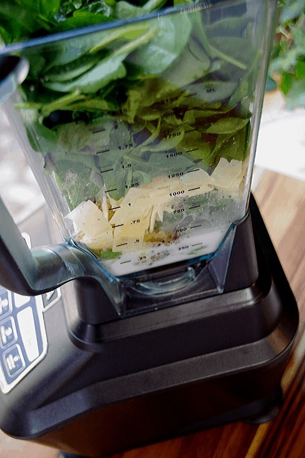 Green pasta sauce ingredients in blender