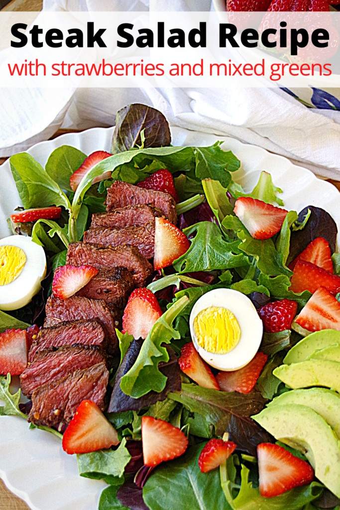 Steak Salad Recipe with strawberries and mixed greens