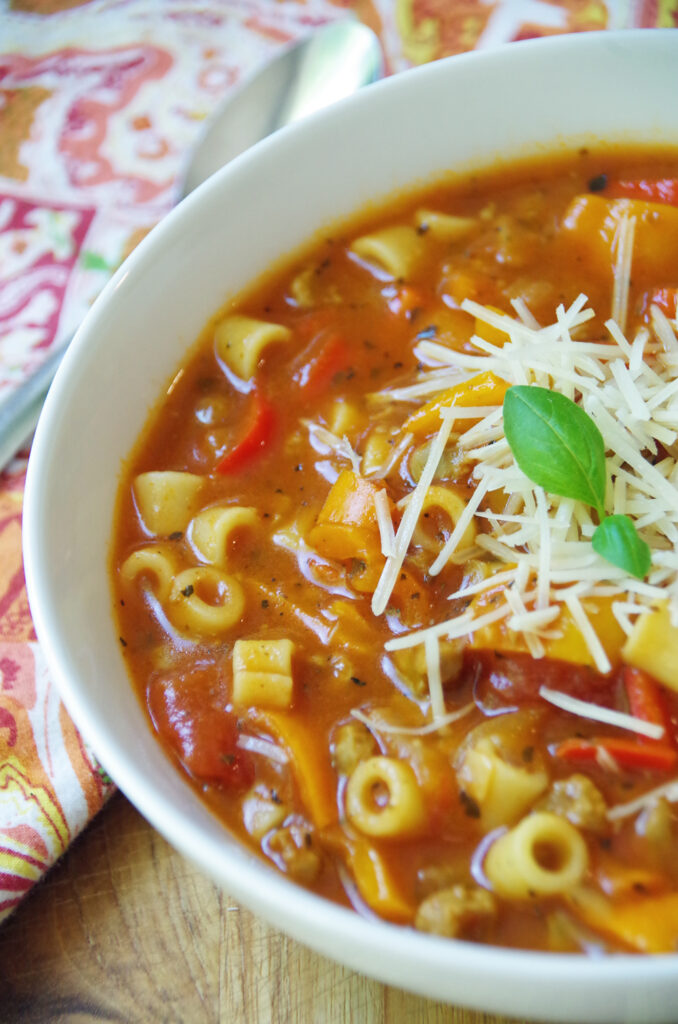 Stuffed Bell Pepper Soup with Italian Herbs and Pasta