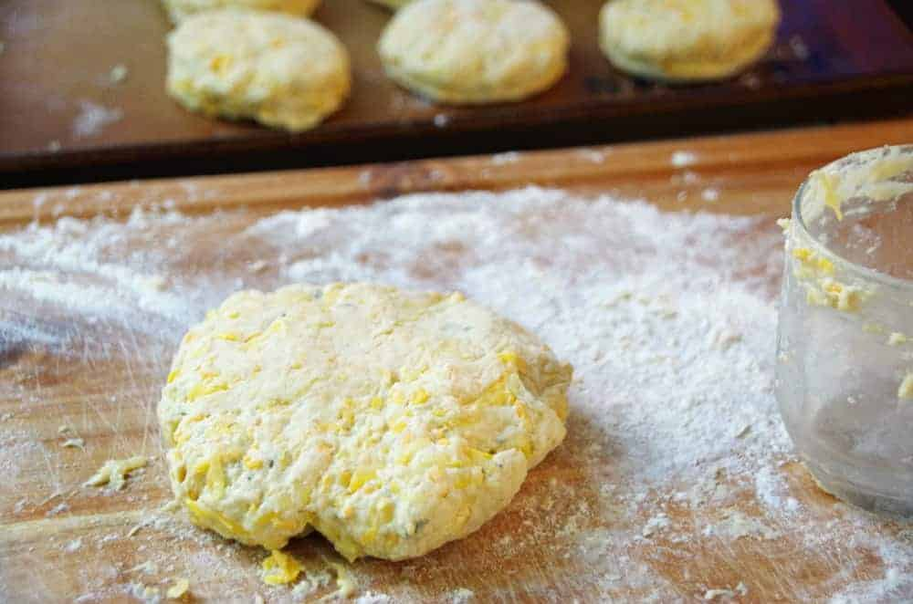 homemade biscuit dough on cutting board