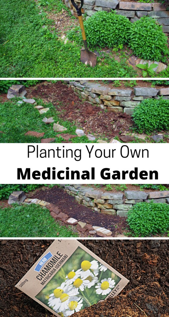 a diy medicinal garden project collage with shovel, turned soil, and herb seeds