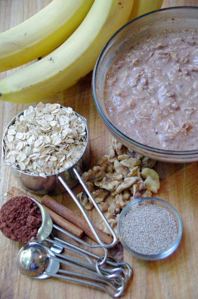 chocolate Banana nut bread overnight oats recipe ingredients