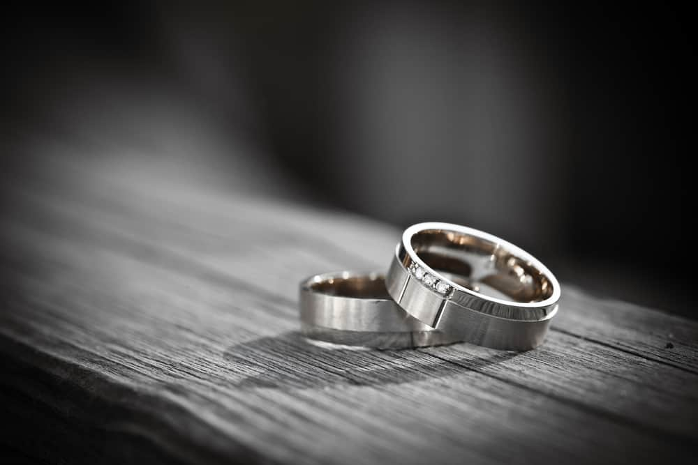 Wedding rings on bench
