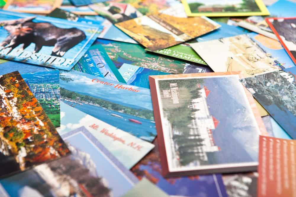 homemade postcards made with upcycled calendar photos