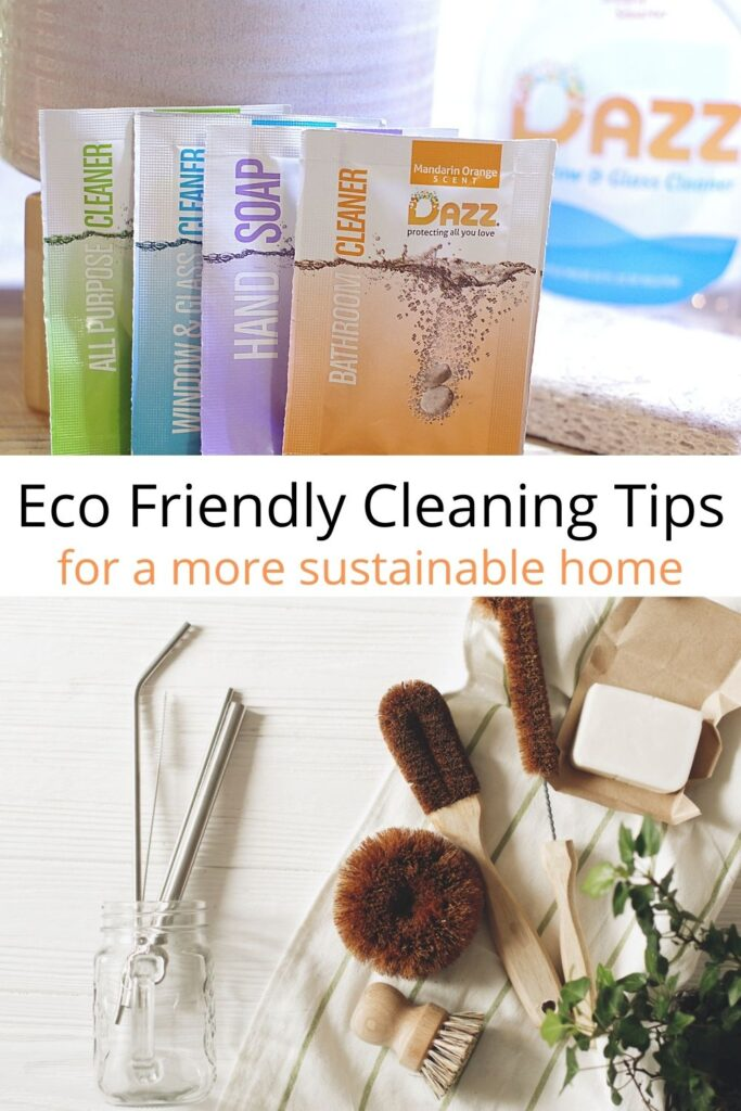 collage of sustainable cleaning products with text overlay 'eco friendly cleaning tips for a more sustainable home'